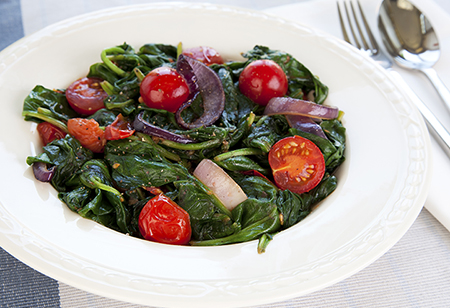 Stewed Greens with Tomatoes and Mint